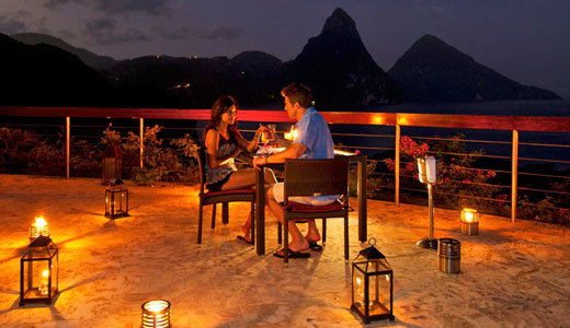 Dining ont the Celestial Terrace at Jade Mountain