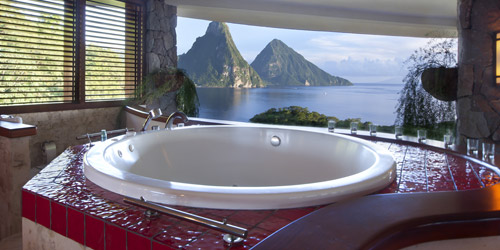 Huffington Post UK features Jade Mountain as one of 15 Breathtaking Hotel Bathrooms to Add to Your Bucketlist